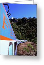 The Chihuahua-pacific Railway Travelling Through The Copper Canyon Greeting Card by Sami Sarkis
