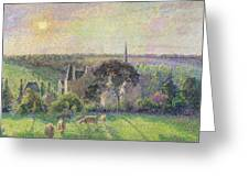 The Church And Farm Of Eragny Greeting Card by Camille Pissarro