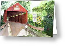 The Covered Bridge Greeting Card by Vickey Swenson