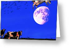 The Cow Jumped Over The Moon . Square Greeting Card by Wingsdomain Art and Photography