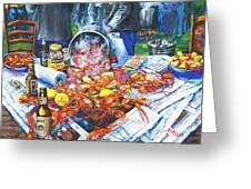 The Crawfish Boil Greeting Card by Dianne Parks