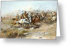 The Custer Fight Greeting Card by Charles Russell