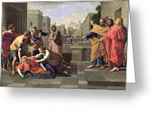 The Death Of Sapphira Greeting Card by Nicolas Poussin