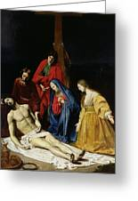 The Descent From The Cross Greeting Card by Nicolas Tournier