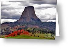 The Devils Tower WY Greeting Card by Susanne Van Hulst