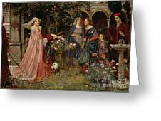 The Enchanted Garden Greeting Card by John William Waterhouse