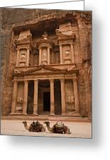 The Famous Treasury With Two Camels Greeting Card by Taylor S. Kennedy