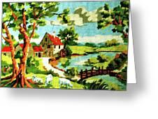 The Farm House Greeting Card by Farah Faizal