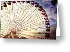 The Ferris Wheel At Navy Pier Greeting Card by Mary Machare