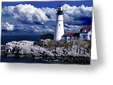 THE FRONT AT PORTLAND HEAD Greeting Card by Skip Willits