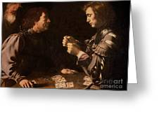 The Gamblers Greeting Card by Michelangelo Caravaggio