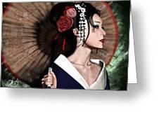 The Geisha Greeting Card by Pete Tapang