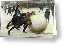 The Giant Snowball Greeting Card by Jean Mayne