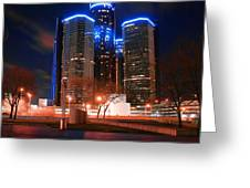 The Gm Renaissance Center At Night From Hart Plaza Detroit Michigan Greeting Card by Gordon Dean II