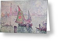 The Green Sail Greeting Card by Paul Signac