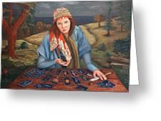 The Gypsy Fortune Teller Greeting Card by Enzie Shahmiri