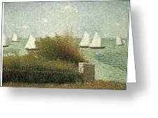 The Harbor At Grandcamp Greeting Card by Georges Seurat