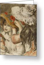 The Hatpin Greeting Card by Pierre Auguste Renoir