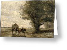 The Haycart Greeting Card by Jean Baptiste Camille Corot