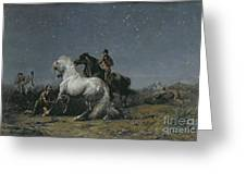 The Horse Thieves Greeting Card by Ferdinand Victor Eugene Delacroix