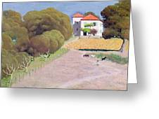 The House With The Red Roof Greeting Card by Felix Edouard Vallotton