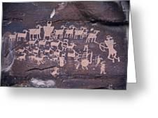 The Hunt Scene- Ancient Pueblo-anasazi Greeting Card by Ira Block