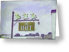 The Hut Bbq Restaurant Sign Greeting Card by Jerry Grissom