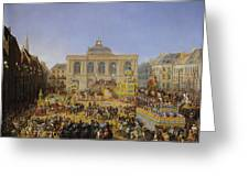 The Kermesse At Saint-omer In 1846 Greeting Card by Auguste Jacques Regnier