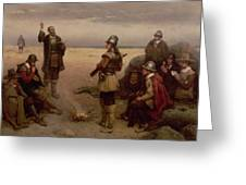 The Landing of the Pilgrim Fathers Greeting Card by George Henry Boughton