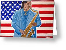 The Late Great Clarence Clemons Greeting Card by Eamon Reilly