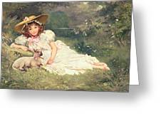 The Little Shepherdess Greeting Card by Arthur Dampier May