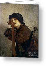 The Little Violinist Sleeping Greeting Card by Antoine Auguste Ernest Hebert