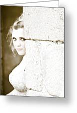 The Look Behind The Pillar Greeting Card by Loriental Photography