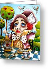 The Mad Hatter Greeting Card by Lucia Stewart