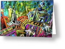 The Magical Rooftops Of Prague 02 Greeting Card by Miki De Goodaboom