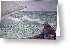 The Man At The Tiller Greeting Card by Theo van Rysselberghe