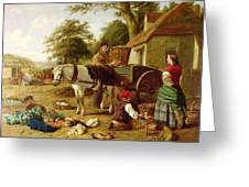 The Market Cart Greeting Card by Henry Charles Bryant