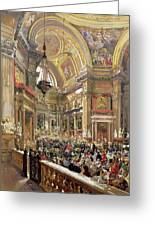 The Miracle Of The Liquefaction Of The Blood Of Saint Januarius Greeting Card by Giacinto Gigante