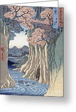 The Monkey Bridge In The Kai Province Greeting Card by Hiroshige