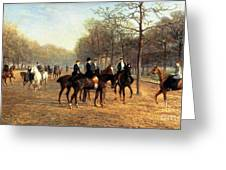 The Morning Ride Rotten Row Hyde Park Greeting Card by Heywood Hardy