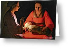 The New Born Child Greeting Card by Georges de la Tour