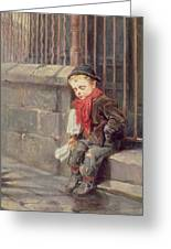 The News Boy Greeting Card by Ralph Hedley