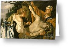 The Nursing Of Saint Sebastian Greeting Card by Theodore van Baburen