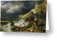 The Onslaught Of The Smugglers Greeting Card by Louis Eugene Gabriel Isabey