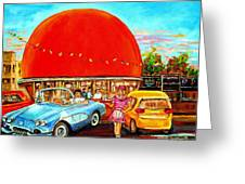 The Orange Julep Montreal Greeting Card by Carole Spandau