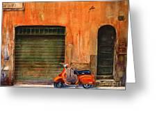 The Orange Vespa Greeting Card by Karen Fleschler