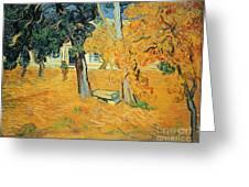 The Park At Saint Pauls Hospital Saint Remy Greeting Card by Vincent van Gogh