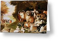 The Peaceable Kingdom Greeting Card by Edward Hicks