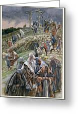 The People Beholding The Things That Were Done Smote Their Breasts Greeting Card by Tissot