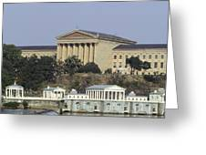 The Philly Art Museum And Waterworks Greeting Card by Bill Cannon
